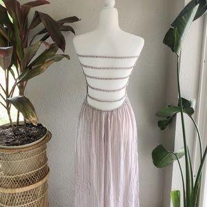 Elan Strapless Ladder Open Back Shirred Maxi Dress